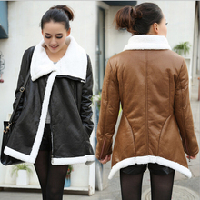 EY0120C New Fashion Women Overcoat Lady Long Coat Warm Leather Jacket Winter Coat plus size