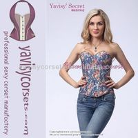 2014 the latest no MOQ dropshipping wholesale jeans denim corset bustier online shopping
