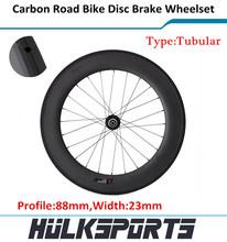Hk-wh-88t-w23-d de disco de frenos carretera 700c 88 mm Tubular del camino del carbón de la bicicleta ruedas carbon Road bike ruedas con 23 mm ancho