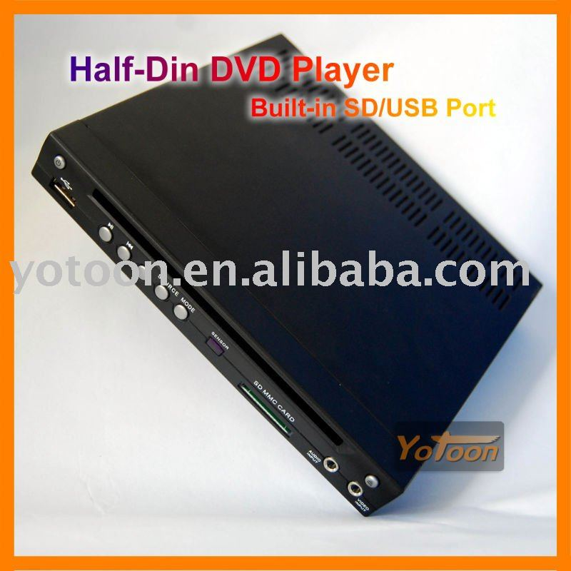Metade Din Car DVD player, 1/2 Din Car DVD player, Built In SD / USB porto Car DVD player, Suporte DIVX / AVI / DVD / VCD / MP3 / CD