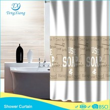 Polyester patterned Fabric Hookless Shower Curtain For Bathroom