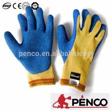 Blue yellow leather cutproof gloves short track