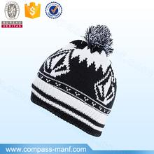 Unisex western style jacquard fabric pom pom beanie hats wholesale