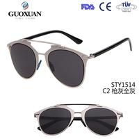 2015 new reflected sunglasses women brand designer UV400 metal frame retro vintage cat eye sun glasses for women