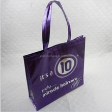 Purple laminated non woven totebag/shopping bag