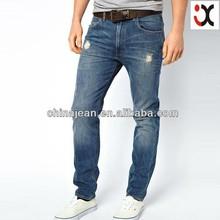 moda al por mayor precio de dril de algodón pantalones vaqueros de los hombres arrancado de mezclilla pantalones vaqueros jxl21039