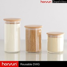 Eco-Friendly Kitchenware Cylinder Storage Glass Jar Wood Lid Wholesale