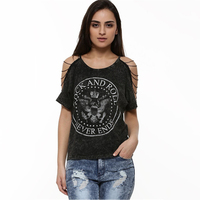 2015 new stylish girls personalized chain string sleeve t shirt, short sleeve black t shirt