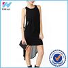 Summer women dress 2015 New Casual plain black Chiffon long beach dress kurti O-neck sleeveless Yihao