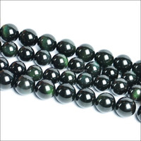 Wholesale natural obsidian rough loose round green obsidian beads 8mm