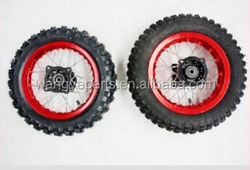 """Red 10"""" Inch Front and Rear Alloy Wheel Rim Knobby Tyre Tire PIT PRO Trail Dirt Bike Parts"""