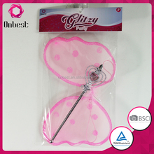 2015 hot sell pink butterfly wings for kids fairy wings for dolls silk butterfly wings