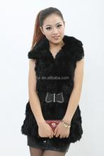 2015 Splendid Design Pieced Rabbit Fur Long Vest With Cute Collar Winter Women Fur Dress