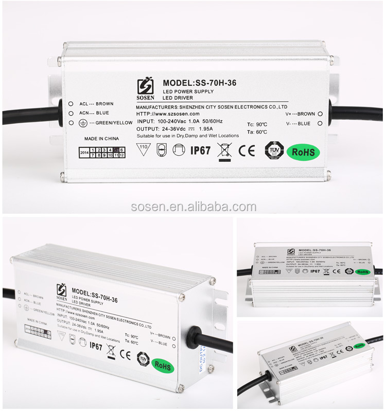China supplier waterproof ip67 70W dimmable led driver