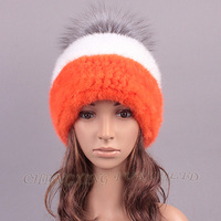 CX-C-221C Wholesale Girl Fashion Fox Fur Ball Knitted Mink Fur Winter Hat With Ball