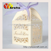 2015 wedding souvenirs boxes, laser cut weddng favor boxes with ribbon MOQ 300 pcs wholesale and retail