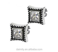 Daimily Jewelry Wholesale Stainless steel Jewelry Square Girl's Gothic Earrings