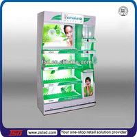 Heavy duty wooden MDF floor display stand with light box for facial cream