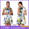 Alta calidad elegante vestido de dama, ropa tallas grandes vestido de flores