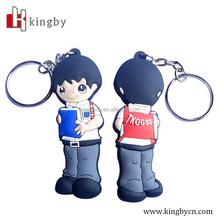 custom made soft plastic 2D cartoon character keychain/embossed rubber keychain/OEM 2D soft keychain