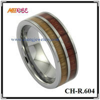 Wholesale Fashion Two Lines Wood Inlay Tungsten Ring