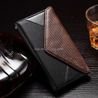 Genuine Leather Wallet Case For Lg G4 Stylus Envelop Style Black Brown