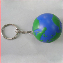 Foam earth ball design earth shaped stress ball globe stress balls with keychain