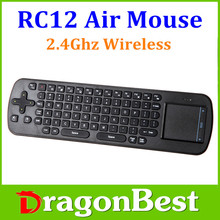 Wholesale Newest RC12 Fly Air Mouse Keyboard 2.4GHz Mini wireless with Touchpad Handheld Keyboard