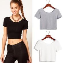 New women's crop top ladies short sleeve stretch lady t shirt 2015 SV007416