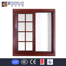 Rogenilan cheap aluminum sliding wooden color window grill design india