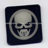 New design - Embossed PVC Patch with Velcro back -Fluorescence skull