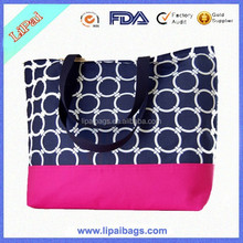 Popular Navy Canvas Tote Beach Bag For Girls Printed Canvas Summer Handbag