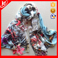 Chinese Style bird and colorful flower modal new design scarf