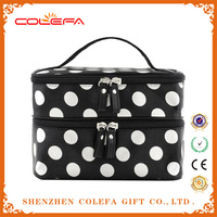 2015 fashion women Hanging Toiletry Travel Wash Makeup boxes Cosmetic Organizer Case Dot Zip Bag Holder