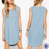 oem wholesale factory knee length vintage denim summer dress 2015