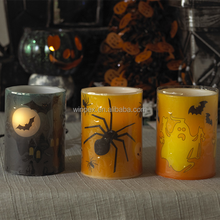 "S/3 Halloween Decor Colorful Wax LED Candle With ""Witch""""Spider""""Pumpkin""Pattern"