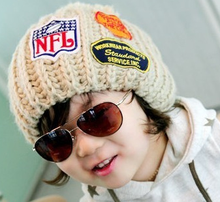 New style knitted wool sweater child hats warm cool trendy pom kids hats