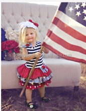 Fashion Navy red stripe fourth of july clothing,baby Girls 4th of July dress