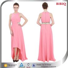 2015 Elegant Front Short Back Long Sleeveless Pink Women Dresses