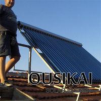 Heat pipe split pressurized vertical solar heater collector