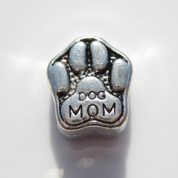 Silver tone spacers dog mom beads