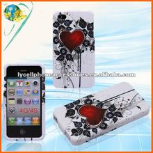 For Iphone 4G 4GS Clip-on Case white base Red Heart Cell Phone Fashion Design Case