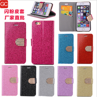 luxury shiny powder glitter rhinestone bling wallet style leather phone case cover for iphone5c