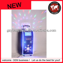 "hot selling trolley speaker! wirless bluetooth speaker with DVD/9""LCD screen/LED strip/ disco light on top"