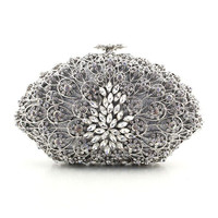 2015 New Graceful Silver Plain Crystal Rhinestone Ladies Bridal Clutch Bags