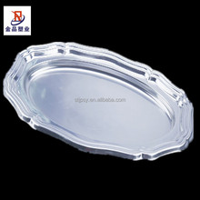Restaurant Disposable Plastic silver Food Serving Tray Party gold Tray Fruit Plate Home dry Fruit Tray Dish