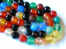 Multi Agate Beads, 8mm Agate Beads, Faceted Agate Beads