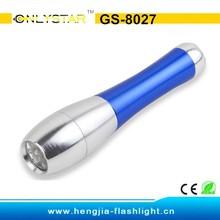 GS-8027 aluminum 3 led bowling shape white light dircet factory sell led flashlight torch