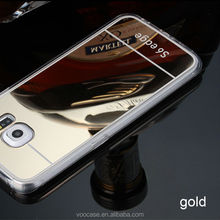 Luxury Acrylic Back Cover Mirror Aluminum Cell Phone Accessories Case For Samsung Galaxy S6 Edge