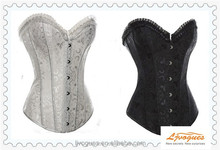 White/Black Victorian Corset of Floral Brocade With Ruffle Ribbon Trim, Sweetheart Neckline, Front Busk